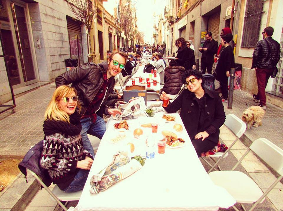 food festival in the streets : calcotada in Barcelona