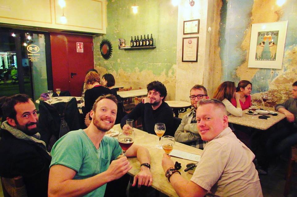 Drinking craft beer at Alex from Barna-Brew Brewpub Sant Antoni, Barcelona Brewpub
