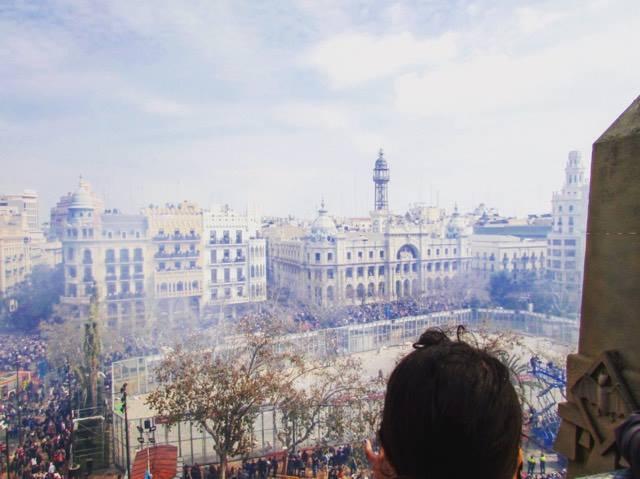 Macleta in Plaza Ayuntiamento for Valencia's Las Fallas Festival