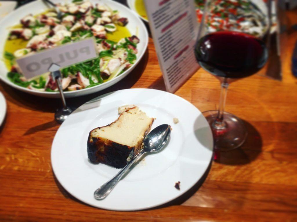 Burnt cheesecake and Rioja for dessert at La Viña in San Sebastian