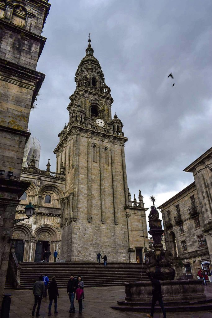The gothic towers of the Cathedral de Santiago de Compostela in Galicia, Northern Spain