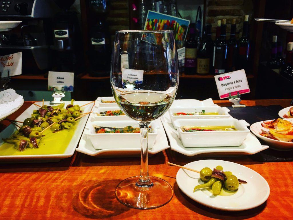 White Rioja a a classic gilda pintxo