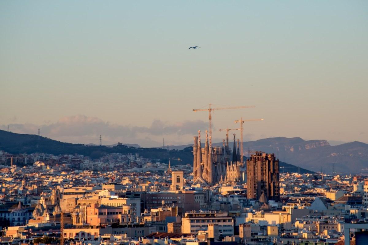 Views of La Sagrada Familia at sunset in Barcelona
