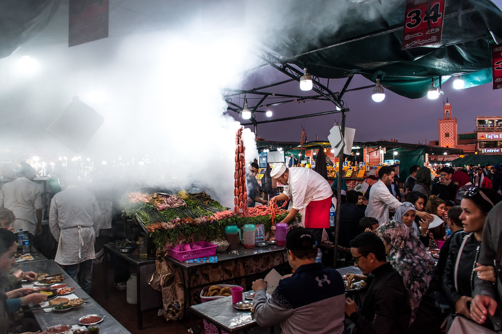 Smoking food stall at Marakkesh's Jemaa el Fna place, Morocco.