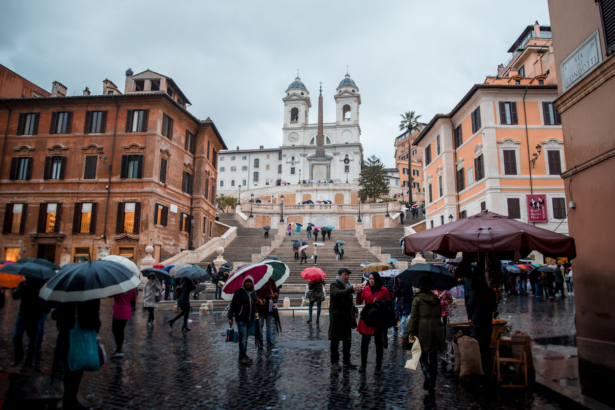 Rome's Scalina Spagna (Spanish Steps) in the rain - by Ben Holbrook
