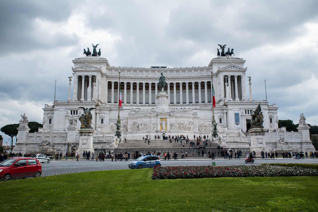 Rome's iconic Altare della Patria in the rain. By Ben Holbrook.