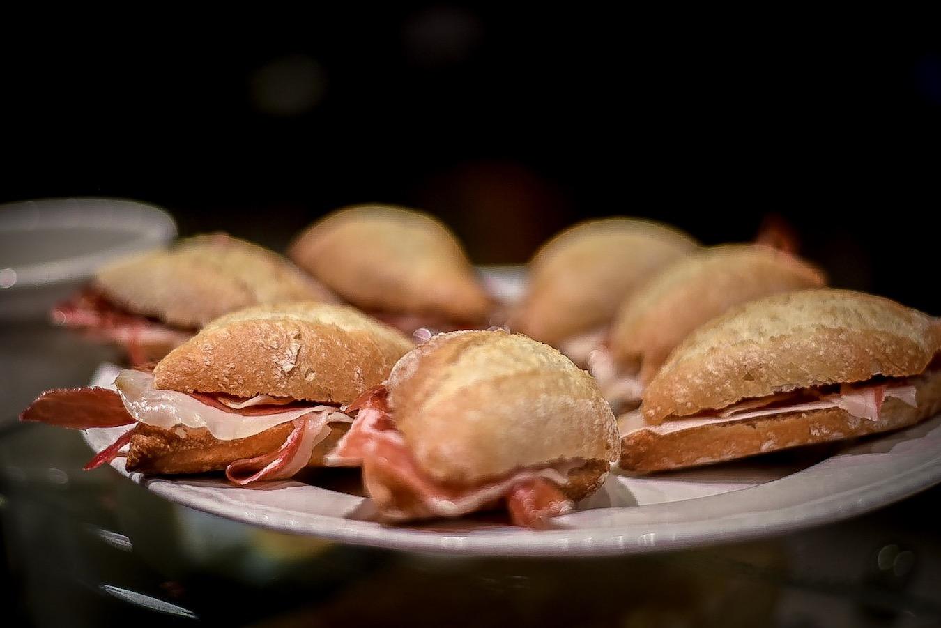 Jamon sandwiches in Santander, Spain.
