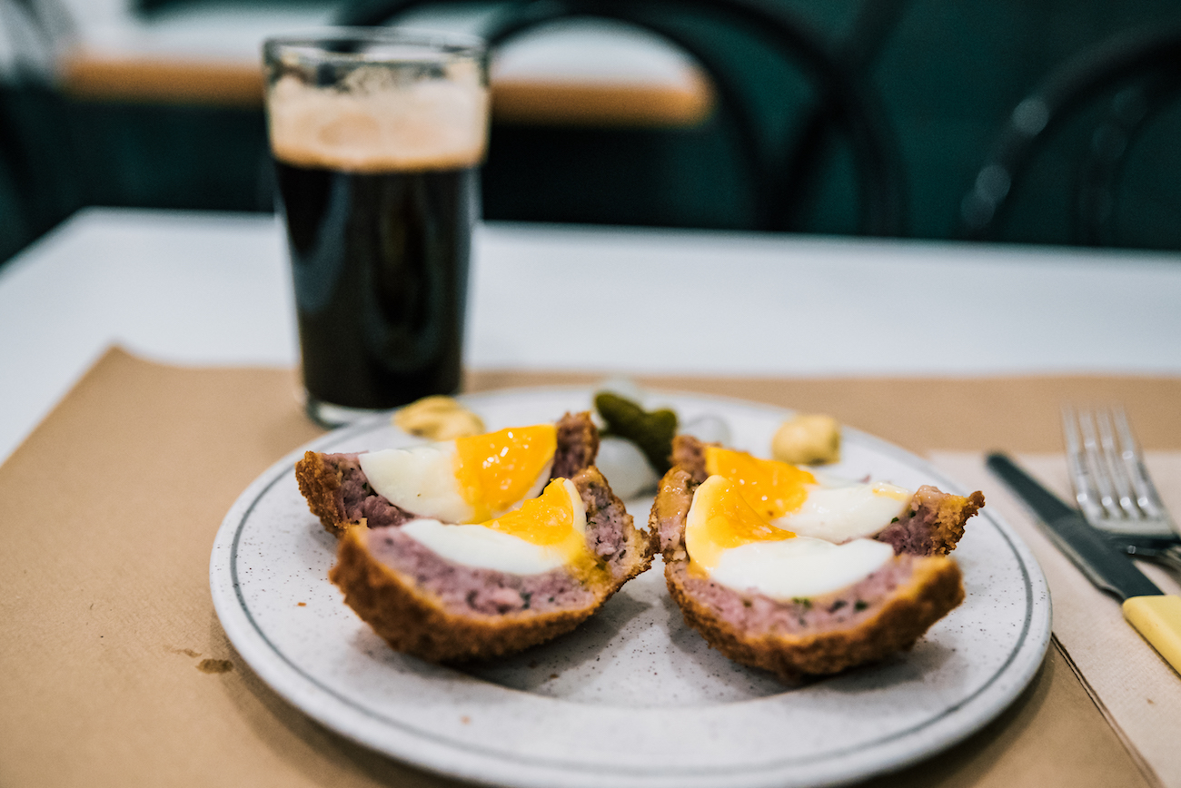 Gary's gourmet Scotch eggs, made with Catalan botifarra sausage meat - The Pie Shoppe, Gracia, Barcelona.
