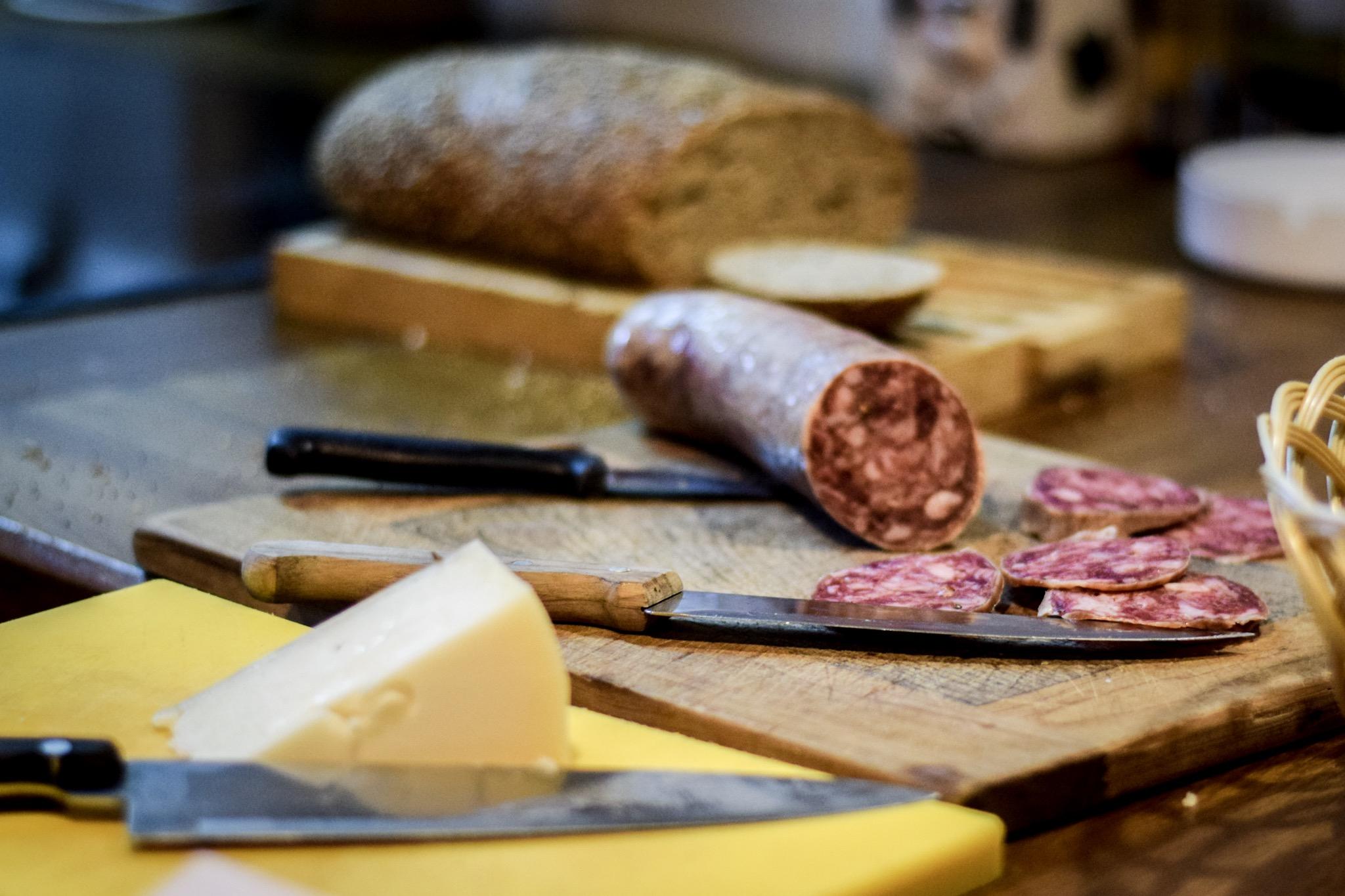 Chorizo and Spanish cheese at Bodegas Vidular in Cantabria, northern Spain.