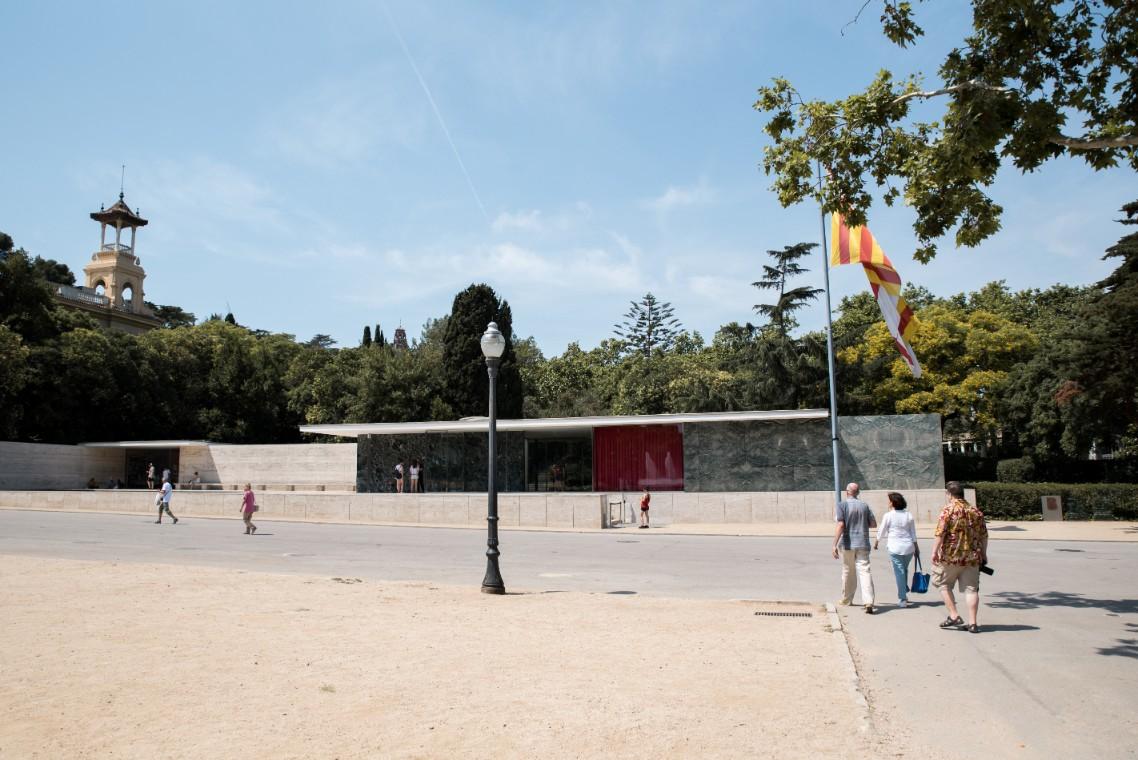 German Pavilion Barcelona - Modern architecture in Montjuic, Barcelona.