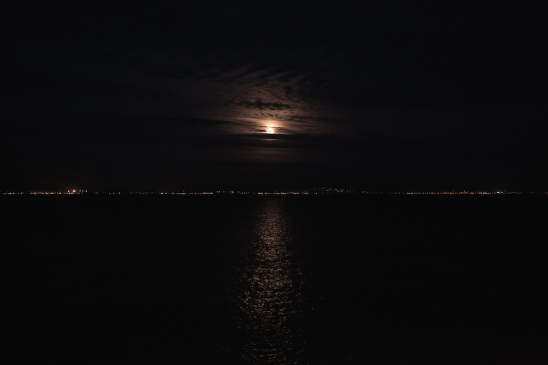 Full moon over Mumbles/Swansea Bay - by Ben Holbrook