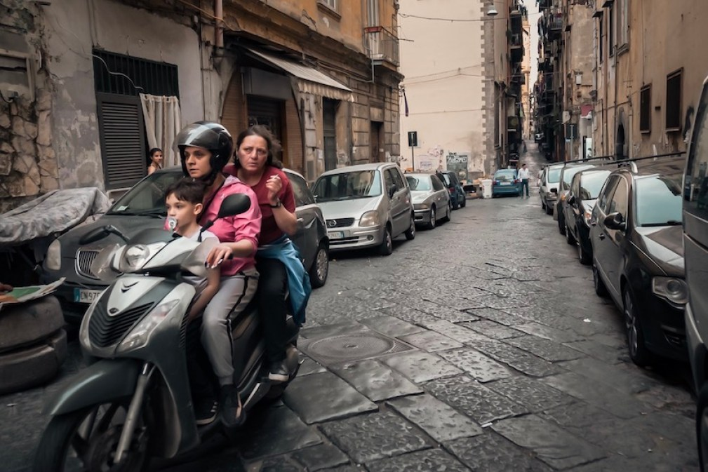 Naples Street Photography - Scooter Riders without Helmets - by Ben Holbrook from DriftwoodJournals.com