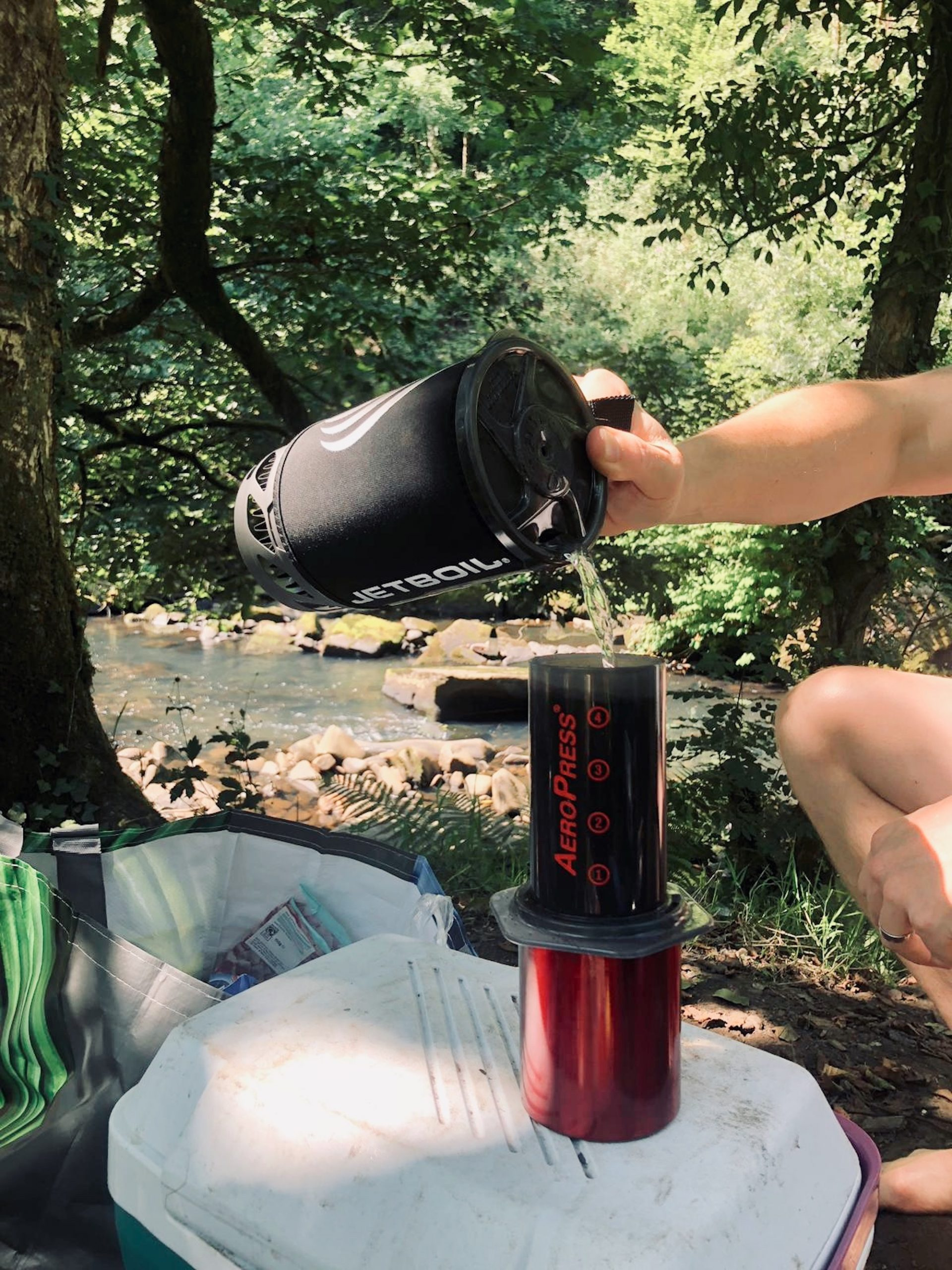 Making tea with Jetboil gas stove while camping in Wales