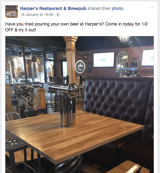 Image from Harpers Brewpub promoting an offer on their self-serve beer tables