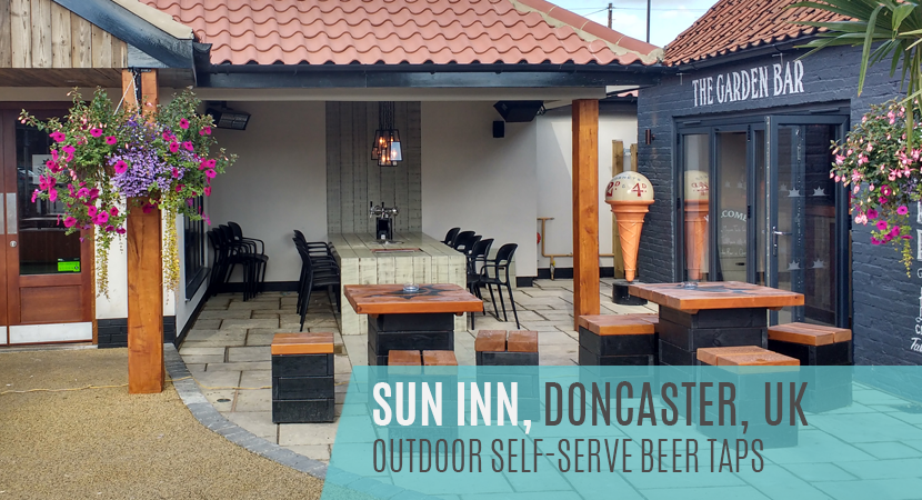 Blog Post header - Sun Inn, Doncaster, UK Self-serve beer taps in outdoor beer garden setting