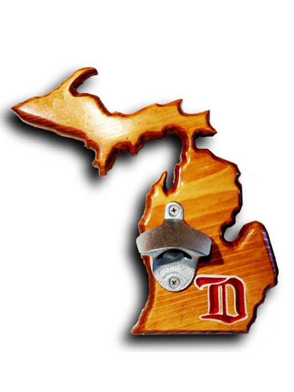 Vintage-Red-Wings-Michigan-wUP-Bottle-Opener-Dark-Walnut