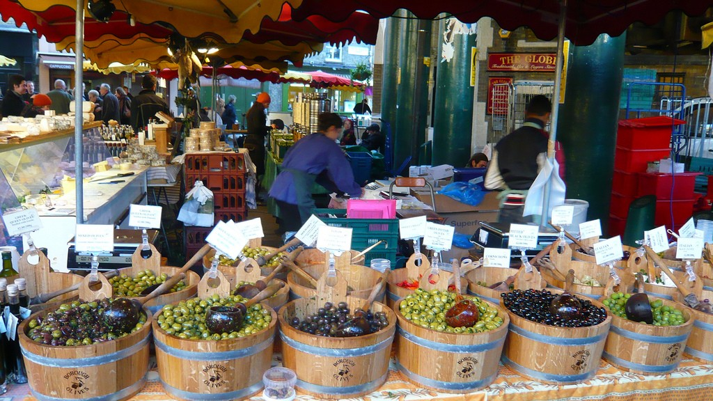 Mediterranean stand in Borough Market. London. Photo by Herry Lawford via Flickr Creative Commons