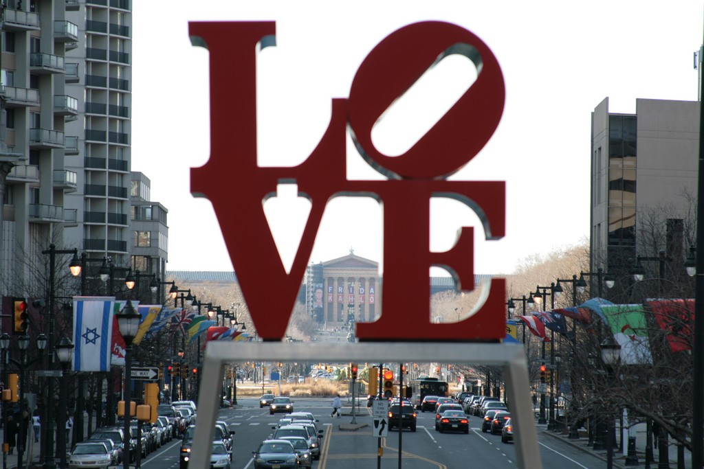 Shot of the Art Museum through the LOVE sculpture. Photo by Gabriel Millos via Flickr CC