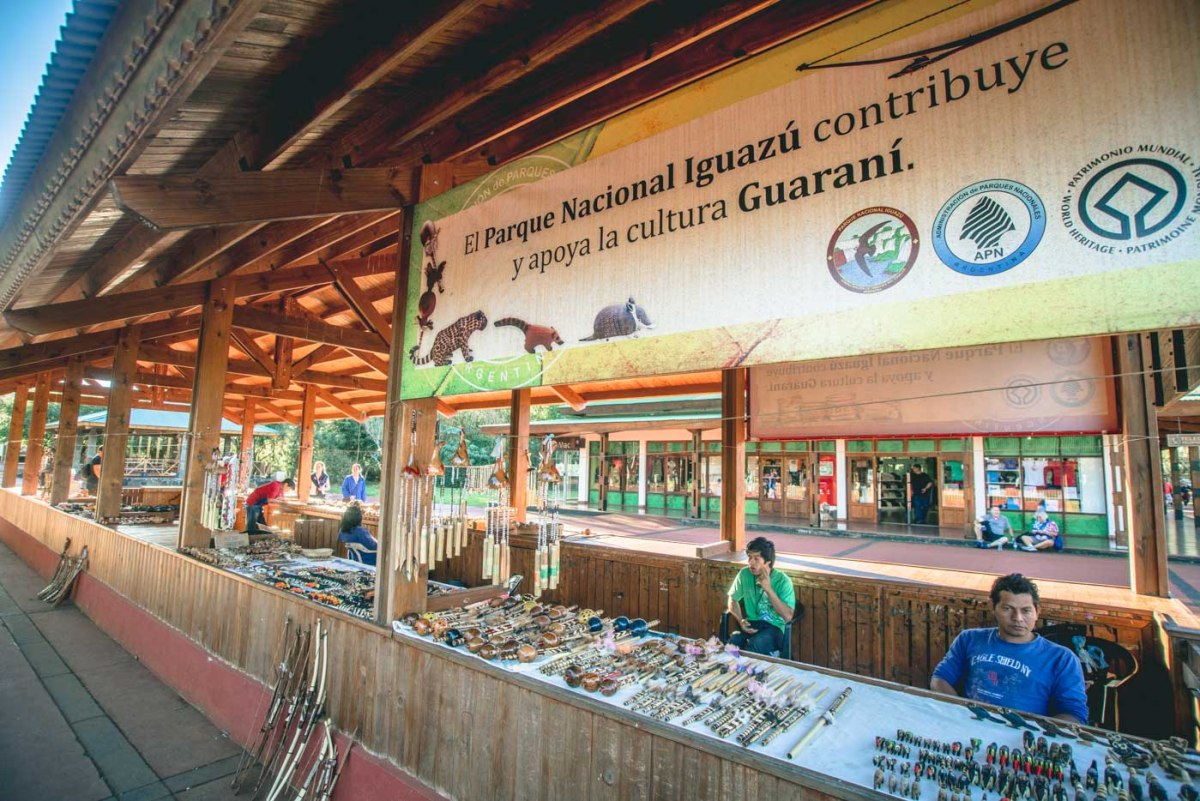 Souvenir stalls at inside the Iguazu Falls Park in Argentina