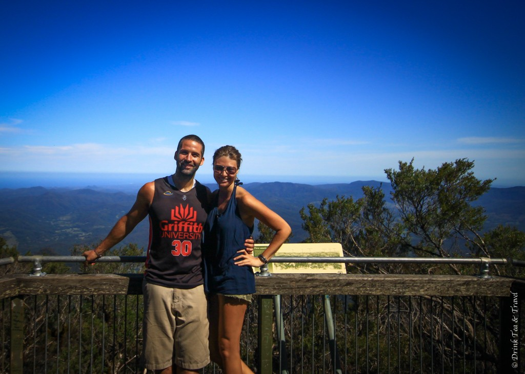 Max and I at the top of Mt Warning after a strenuous 2 hour hike. Mt Warning, Queensland, Australia