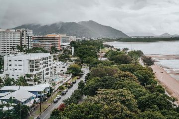 Panoramic views of Cairns from our room at Riley