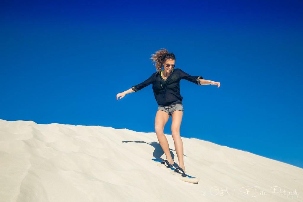 Sand surfing in Lancelin. Western Australia
