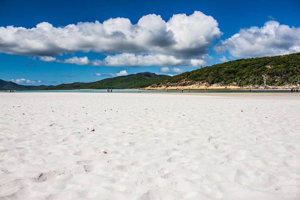 White silica sand on Whitehaven Beach. Sailing in Whitsundays. Australia