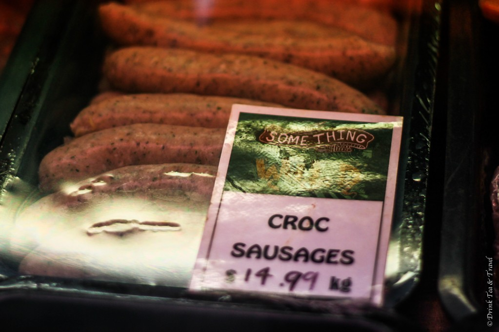 Croc sausages on sale at the Adelaide Central Market