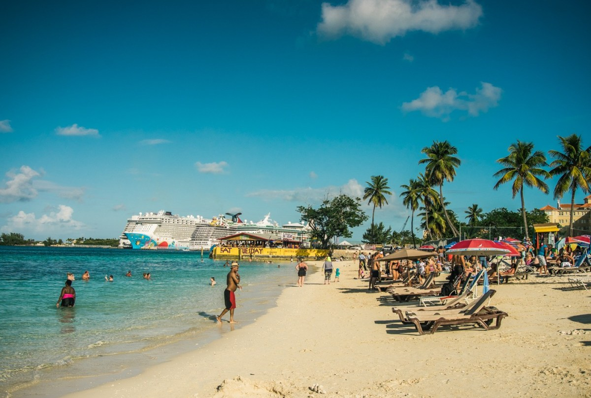 The only beach in downtown Nassau. Bahamas