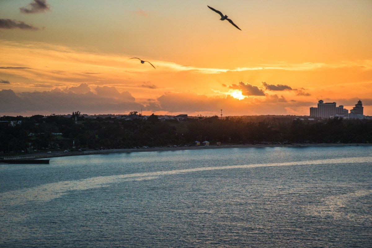 Sunset over Nassau. Bahamas. Cruise