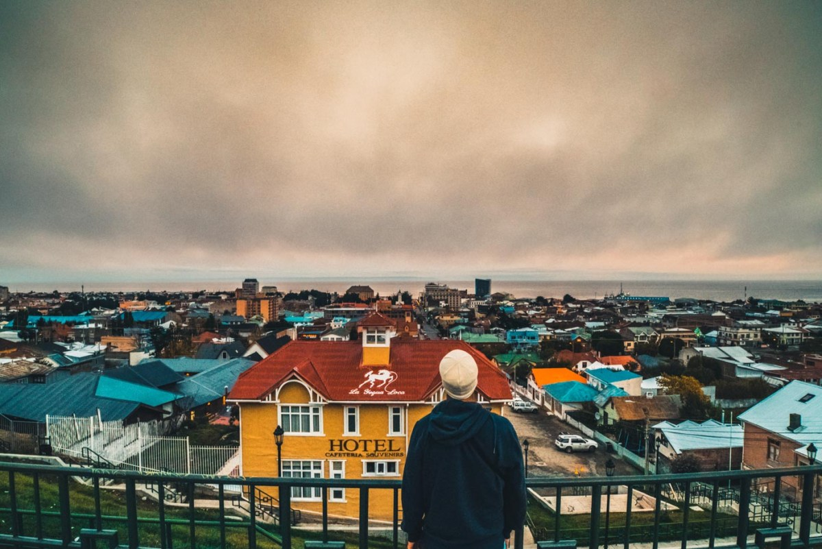 Overlooking the colourful rooftops of Punta Arenas, Patagonia, Chile