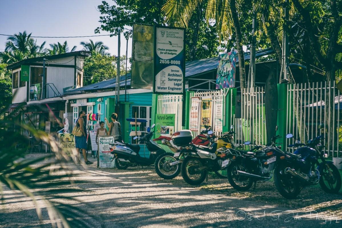 Shops along the street in Samara. Guanacaste. Costa Rica