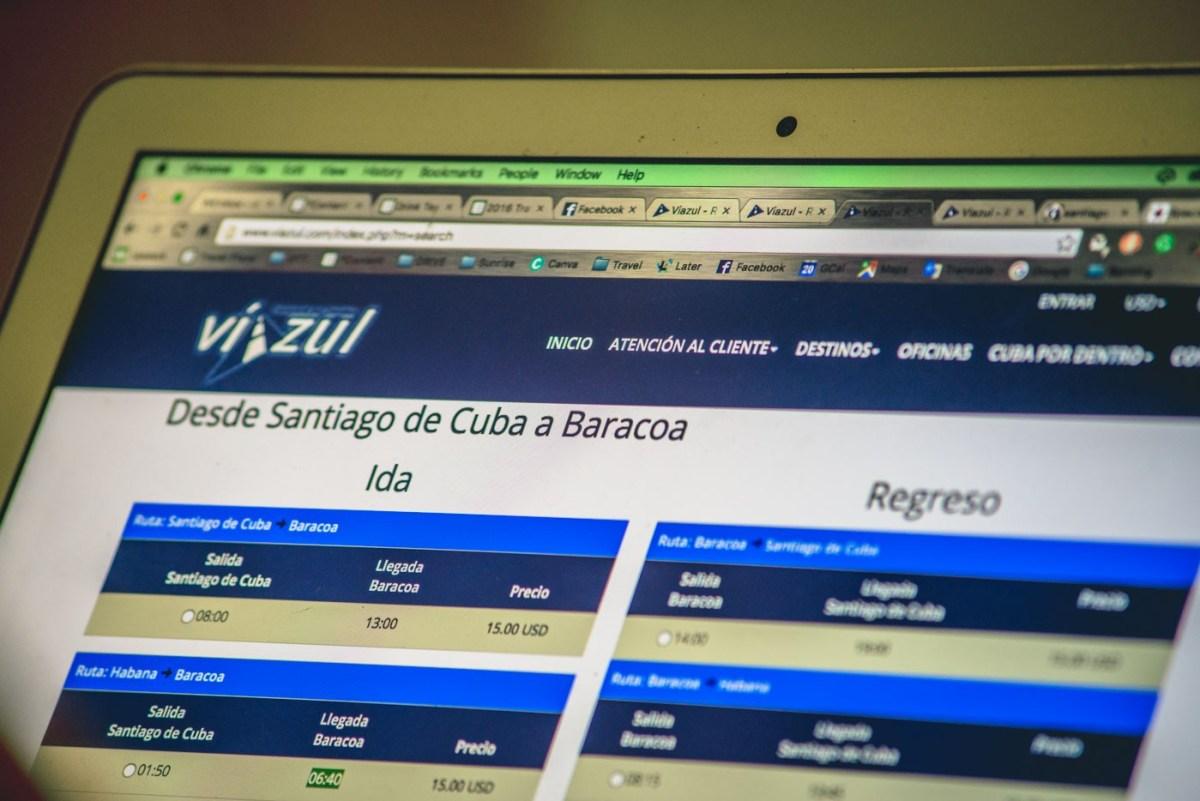 Wifi in Cuba: Booking Viazul tickets online via an ETECSA wifi connection