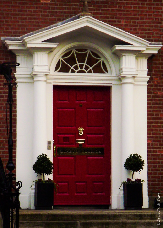Red Georgian style door in Dublin