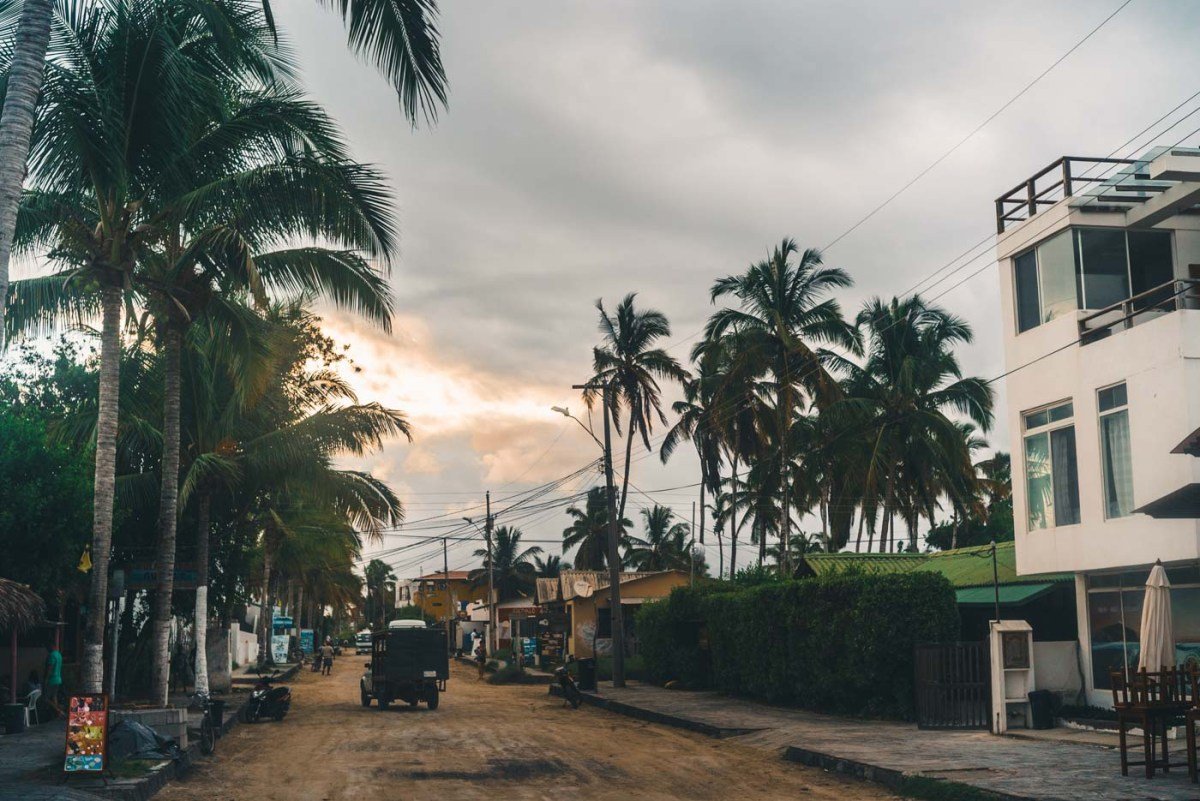 A quiet street on Isabela Island at sunset