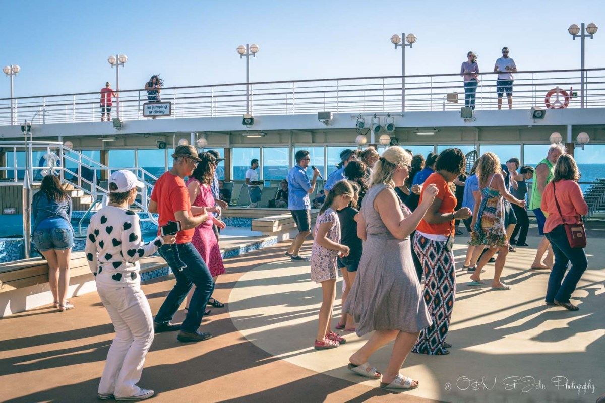 A little mid-day dance party on Adonia. Fathom Travel. Dominican Republic cruise