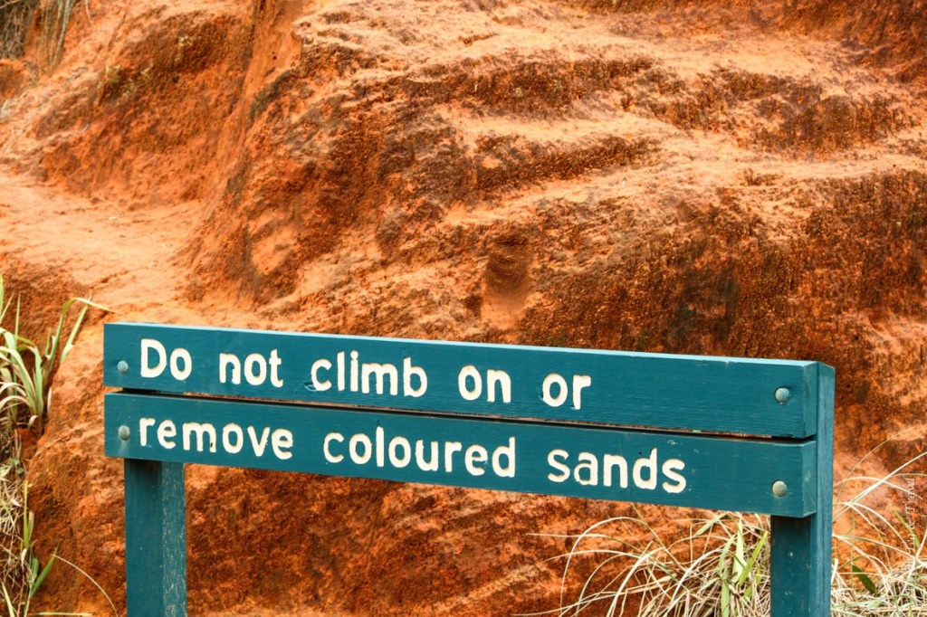 These coloured sands are carefully protected on Fraser Island