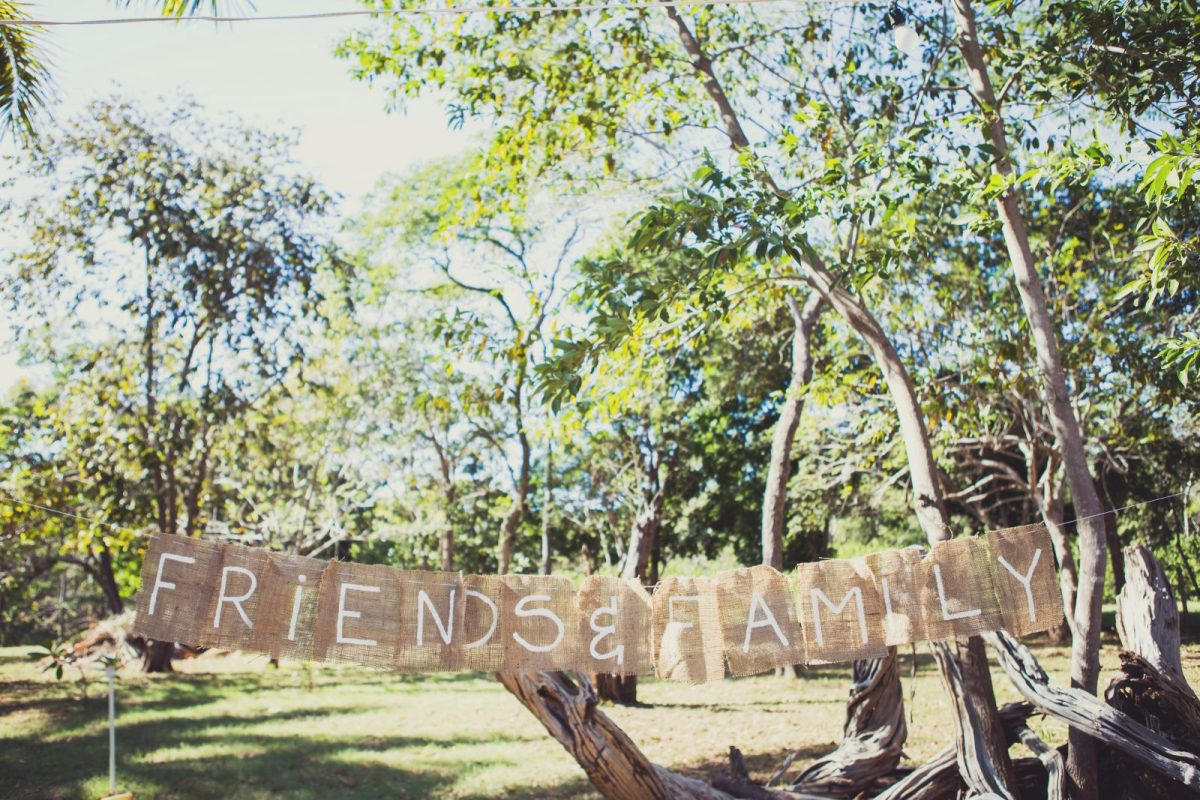 Friends and family banner at the wedding. Costa Rica