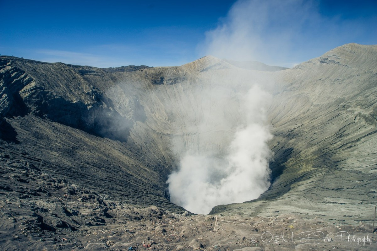 Looking into the crater at Mt Bromo. East Java. Indonesia
