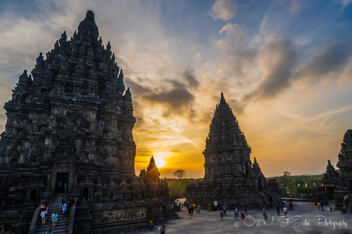Prambanan Temple at sunset. Java, Indonesia