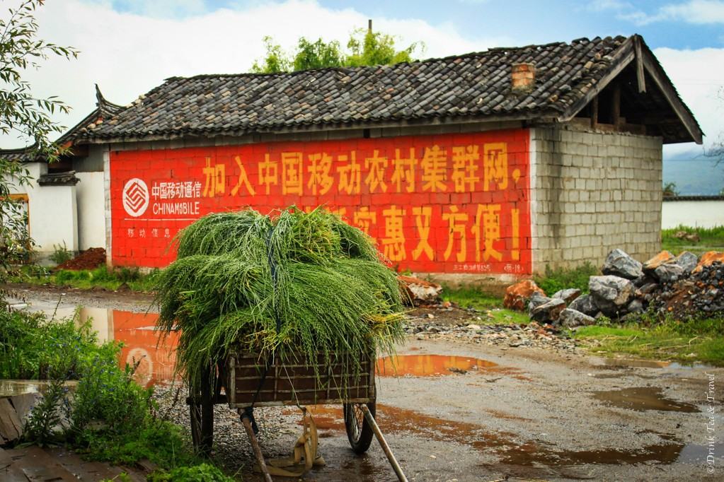 China Mobile advertising on a house in Lijiang countryside