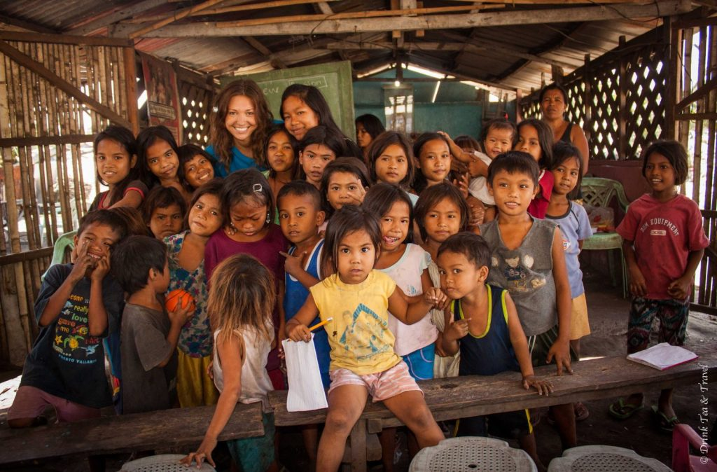 Students at a dumpsite school in Liloan, Cebu, Philippines