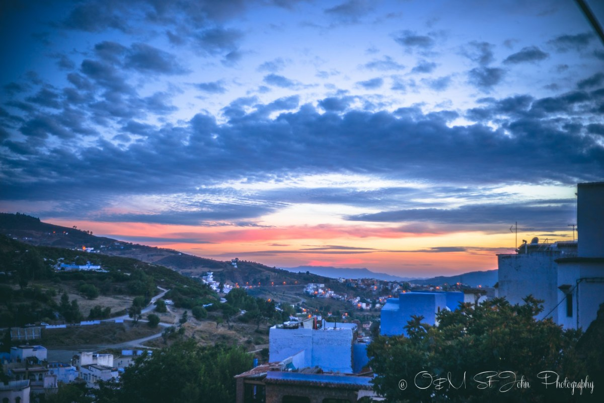Sunset over the blue city of Chefchaouen. Morocco