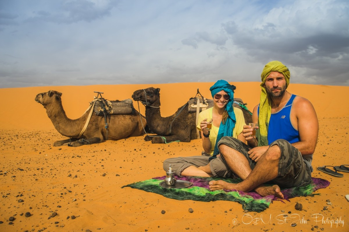 Drinking tea in the Erg Chebbi. Sahara Desert. Morocco