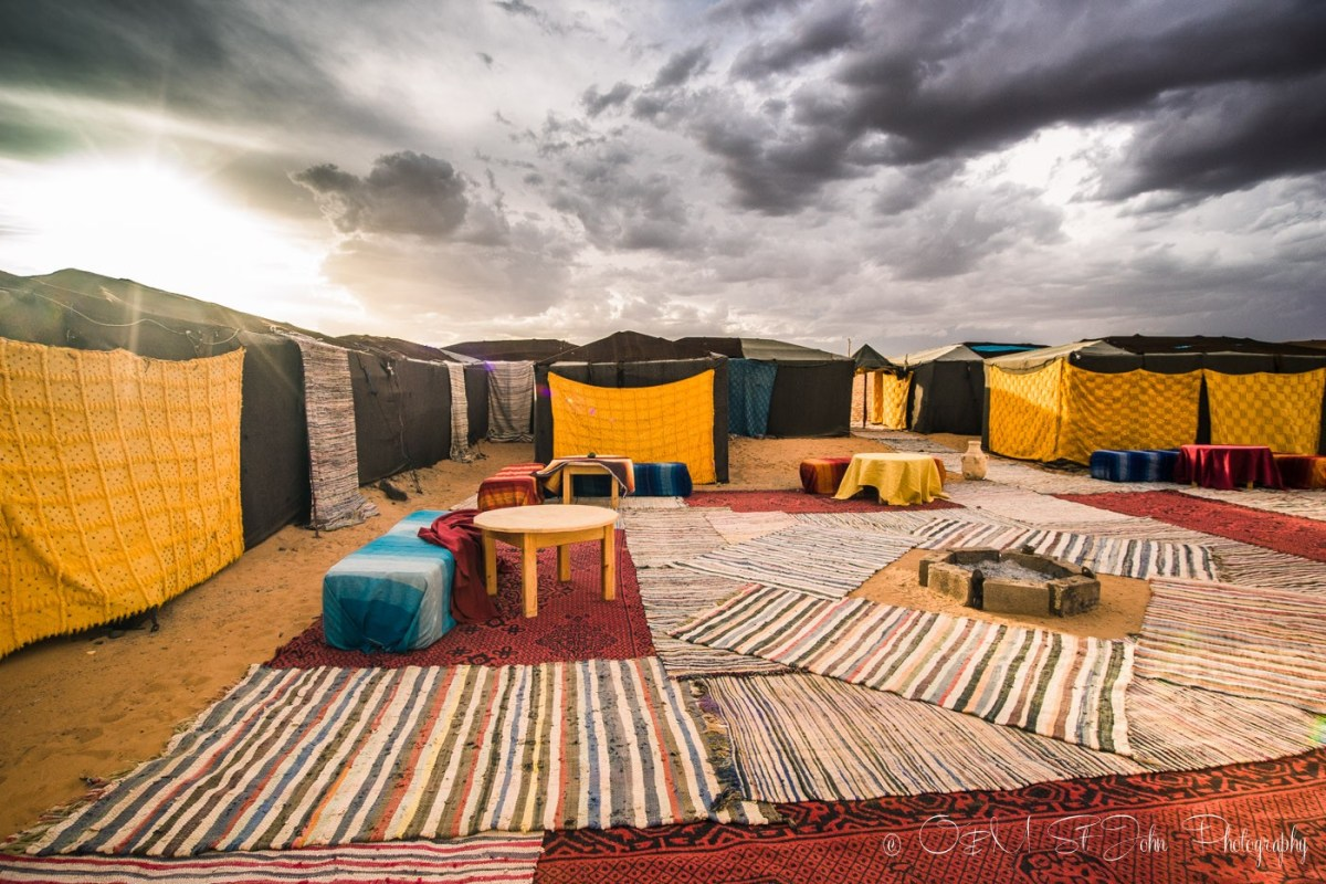 The fancy camp site in Erg Chebbi. Sahara Desert. Morocco