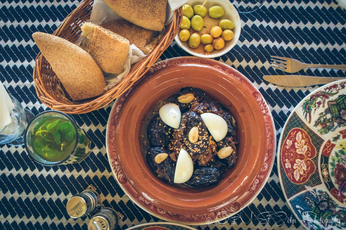 Moroccan food: Lamb, plum and eggs tagine