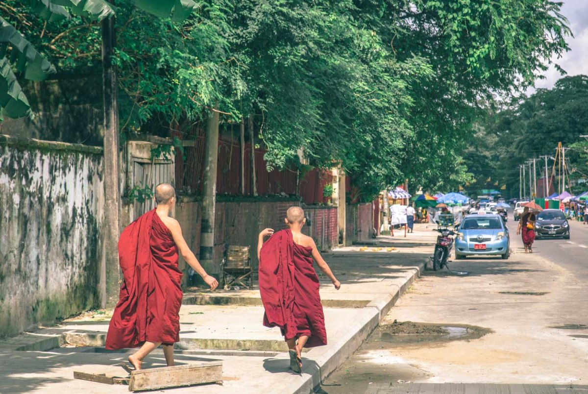 Burmese Monks of the streets of Yangon. Myanmar