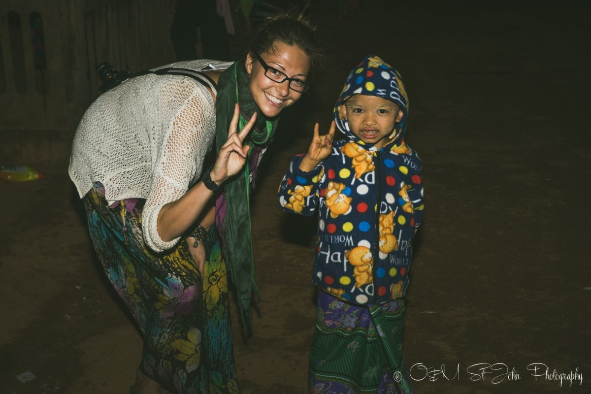 Making friends at the Palaung VIllage Monk Harvest Festival. Myanmar