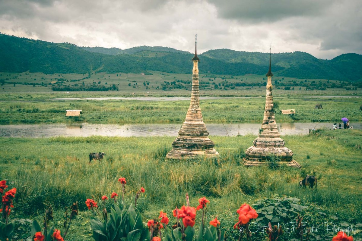 Stupas and mountains on Inle Lake. Myanmar