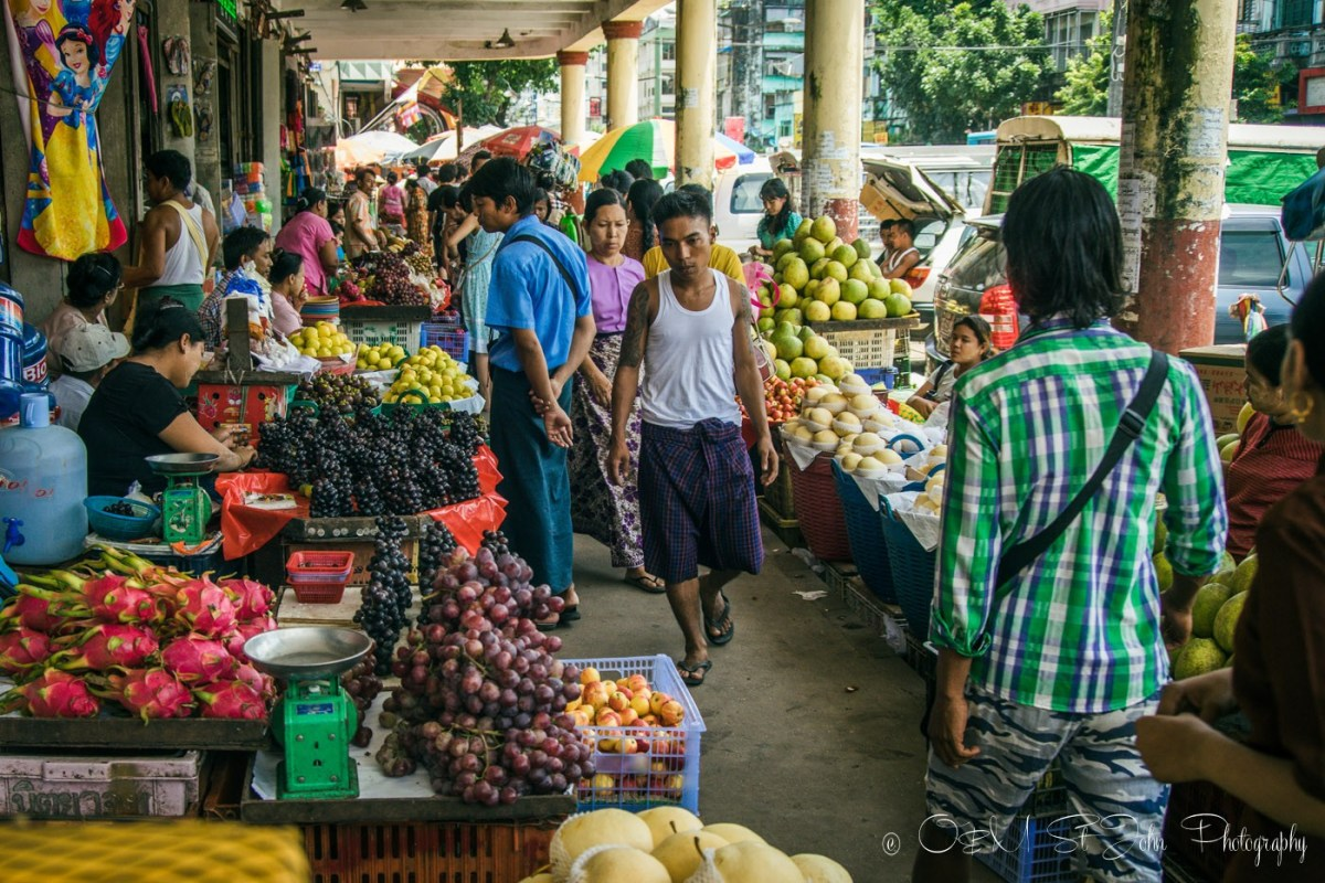 Busy street market in Yangon. Myanmar
